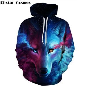 Galaxy Space Wolf 3D Print Hoodies Sweatshirt Men Women Hooded Sweats Tops Hip Hop Unisex Graphic Pullover Drop shipping