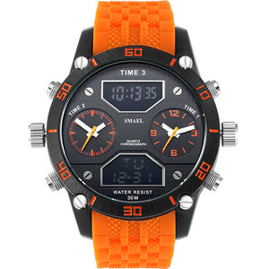 Quartz Digital Watch Alarm Stopwatch Dual Time Zones Brand