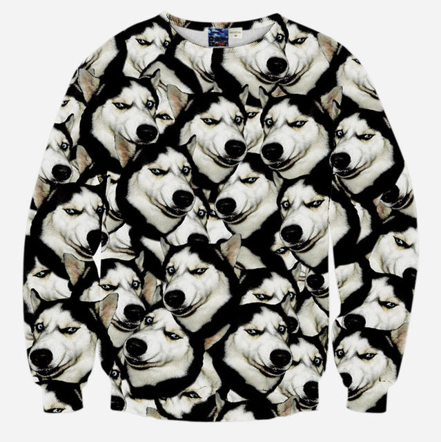 2016 autumn 3d animal print sweatshirt men's