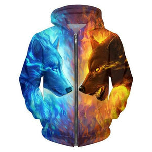 2017 Men/Women Funny 3D Hoodies Mens Animal Ice and Fire Wolf Sweatshirt Tops Fashion Casual Jacket Men Plus Sizes