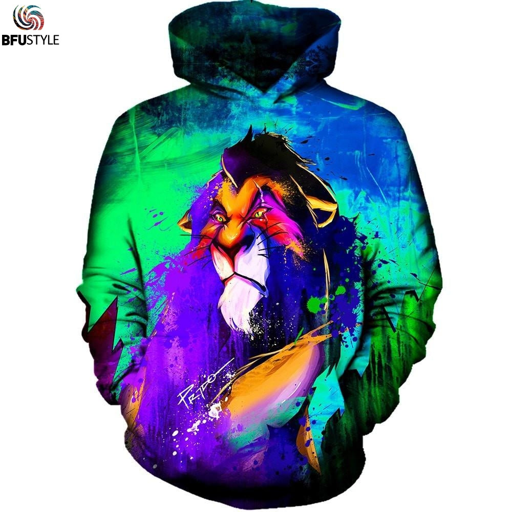Simba Lion Hoodies Men 3D Print Hoodie Sweatshirt With Hat Long