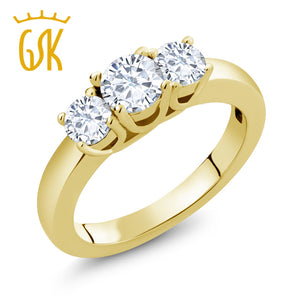 0.94 Ct Round White Created Moissanite 18K Yellow Gold Plated Silver Ring