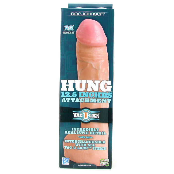 Hung 12.5 Inch Vac-U-Lock Dildo in White
