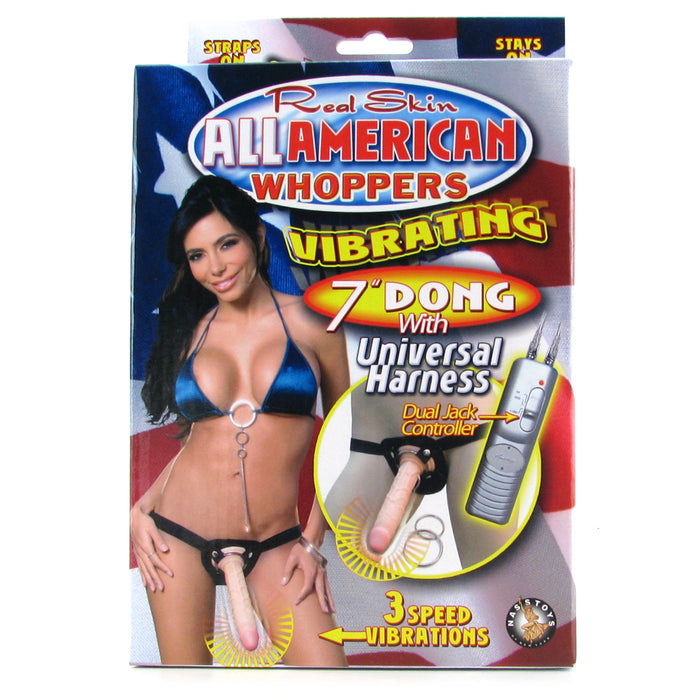 Real Skin Whoppers Vibrator & Universal Harness in 7 Inches