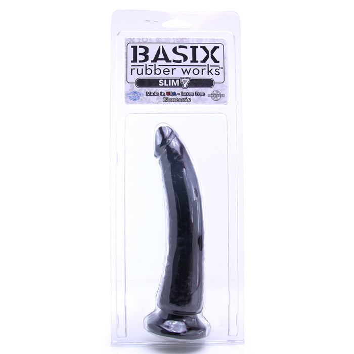 Basix Slim 7 Inch Dildo in Black
