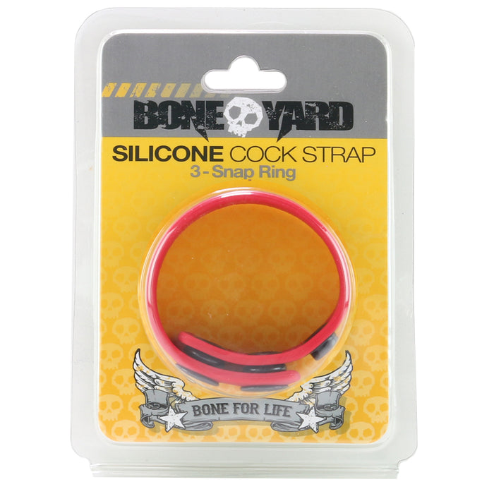 Bone Yard 3-Snap Silicone Cock Strap in Red