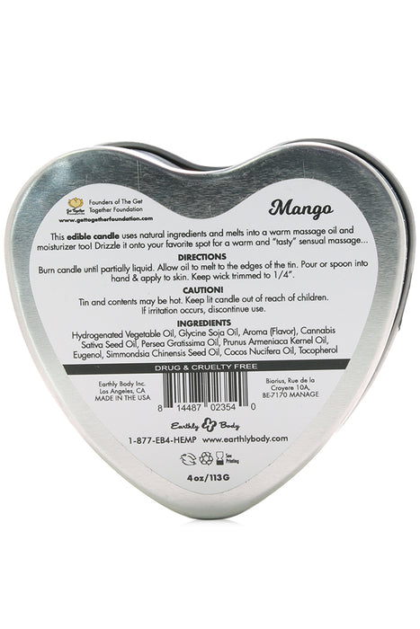 3-in-1 Edible Heart Candle 4oz/113g in Mango