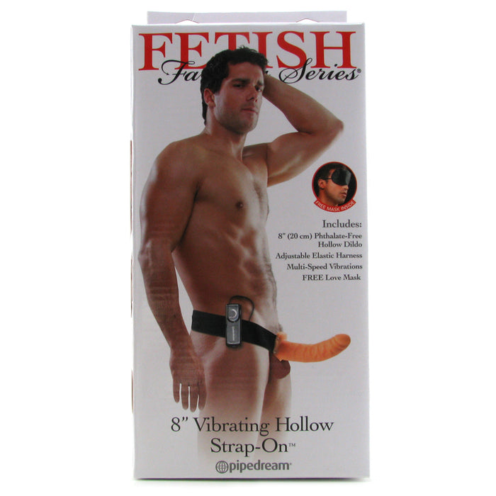 "Fetish Fantasy 8"" Vibrating Hollow Strap-On in Flesh"