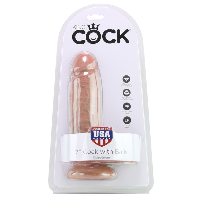 "King Cock 7"" Dildo with Balls in Tan"