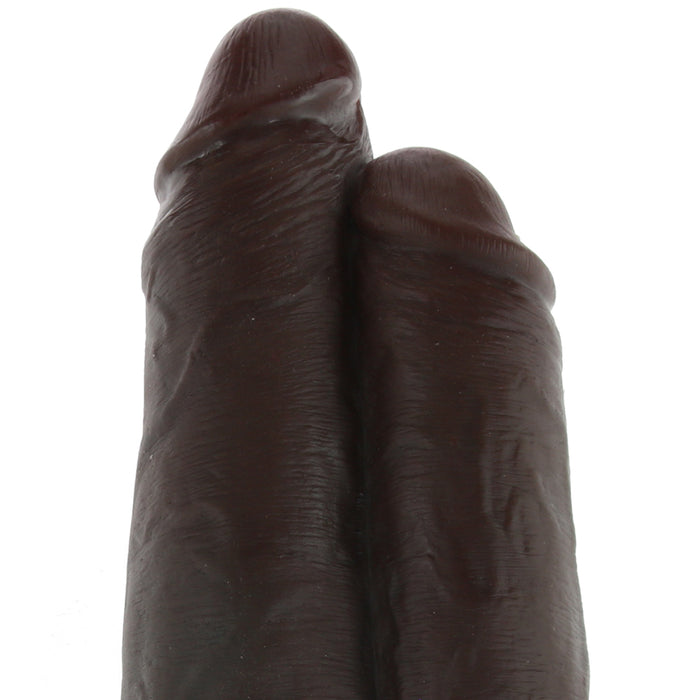"King Cock 9"" Two Cocks One Hole Dildo in Chocolate"