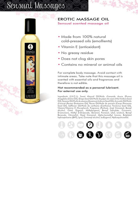 Erotic Massage Oil 8oz/250ml in Desire