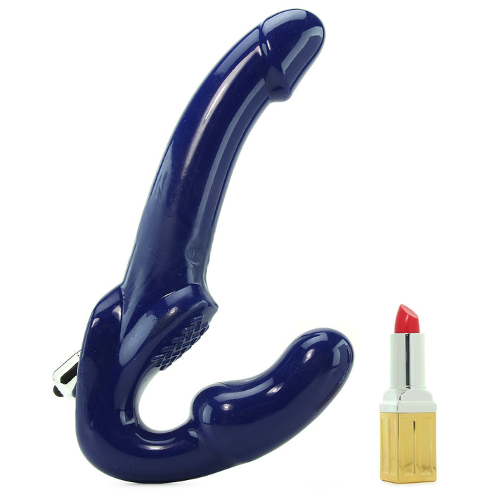Revolver II Vibrating Strapless Strap On Dildo in Blue