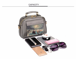 Oil Picture Pattern PU Synth Leather Handbag Casual  Shoulder Bag  High Quality