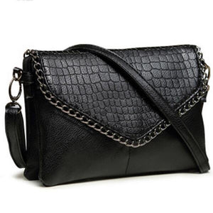 Small Chains Alligator Patterned Crossbody Messenger Bag