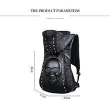 Wolf 3D Face + More Designs Rivet Motorcycle Style Front Buckle Knapsack Backpack w/ hood