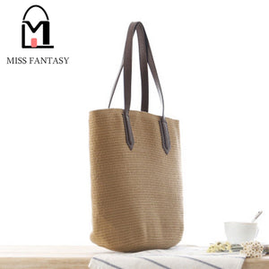 European Style Straw  Beach Bags  Straw Tote Handbag PU Leather Handle