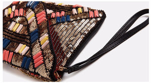 Day clutches beading sequined PU synth leather envelope versatile original design cover women solid soft messenger bags
