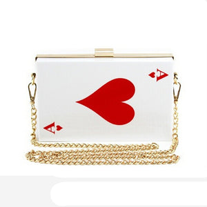 Poker Cards Ace + Joker + Spades + Lips & More.  Female Shoulder Clutch