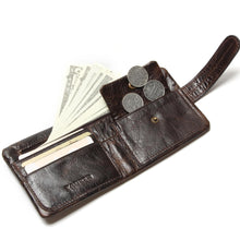 Vintage Casual Real Genuine Cowhide Oil Wax Leather Short Bifold Wallet Coin Pocket