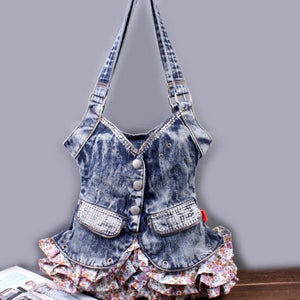 Jean Vest Dress Shaped Creative Fashion w/ ruffle and sequined pockets