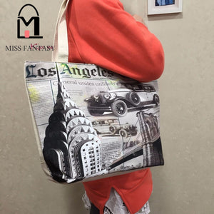 Landscape Printed Los Angeles Canvas Tote Casual Beach Bag Large Capacity