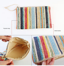 Straw Handbags Color Stripe Day Clutches Summer Bohemian Bag Small Bags Wristlets Lady Casual Envelope Purse
