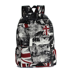 Graffiti Fashion Canvas UK Flag Print Backpack