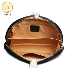 Women Clutch Bag  Genuine Leather Embossing Black Clutch Purse Vintage Women Evening Bags