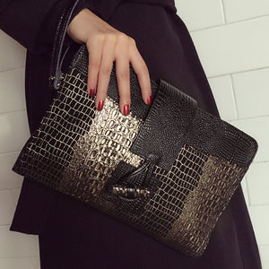 Genuine Leather Women Clutch Bag\Handbags Crocodile Style Envelope Shoulder Bag Messenger Bag Evening Bag