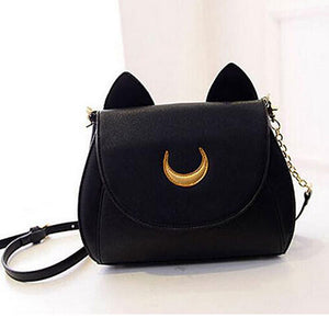 Sailor Moon Chain Shoulder Luna Cat PU  Synth Leather Handbag  Crossbody Small Bag