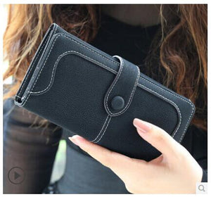 Fashion Retro Matte Solid Color Stitched Hasp Wallet - Long or Short Styles