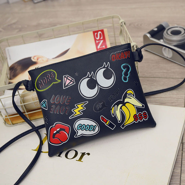 Cartoon Graffiti Printed Women Mini Crossbody Shoulder Bag Lady Daily Purses Clutches Girls Flap Bag