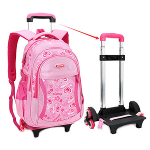 Triple-wheel Trolley Fashion Heart-shaped Pattern Detachable Backpack For Girls