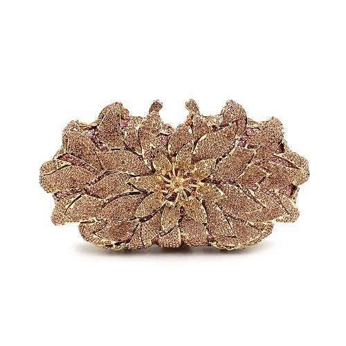 Flower Crystal Clutch Wedding Party Purses Sisters Champagne Gold and Color Purple