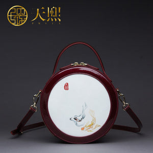 Koi Fish Art Circular Split Leather Shoulder Crossbody Bag