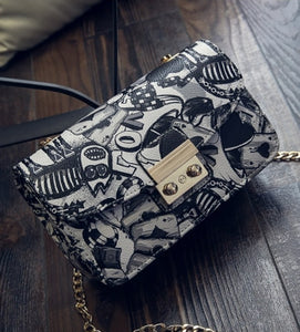 Graffiti Ladies designer high quality chain mini bag women messenger bags for women Clutch