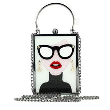 Fashionista Gal Vintage Glasses Mini Clutch Acrylic Handbag