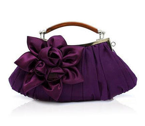 Flower Satin Evening Bag Handle Clutch Bridal Chain Wedding Party Day Clutches Wallet Banquet