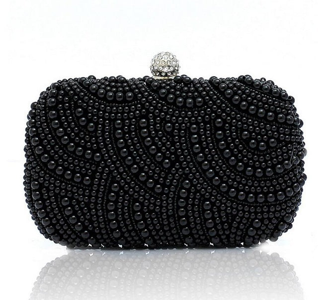 751e9e5508b ... Elegant purple pearls evening bags pink white gold black beaded clutch  bag wedding bridal party dinner ...
