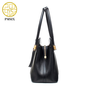 PMSIX Split Leather Handbags Retro Vintage Print Tote Bags