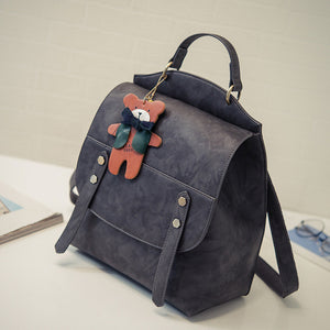 Women Backpack Vintage Backpacks for Teenage Girls Casual Shoulder Bag High Quality PU Leather Rucksack Cute Bear