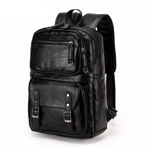 Fashion Buckle Men's Patent Leather College Style Backpack