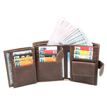 Retro Faded Look First Layer Genuine Leather Men's Large Capacity Multi-Card Trifold Short Wallet