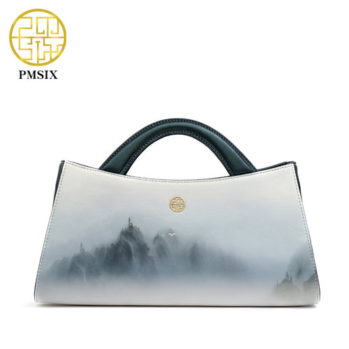 Landscapes Print Original Split Leather Handbag
