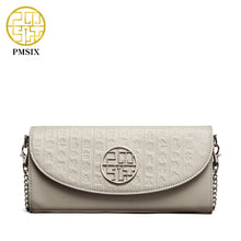 Pmsix Embossed Top Layer Genuine Leather Fashion Chain Women Shoulder Bag Small Crossbody