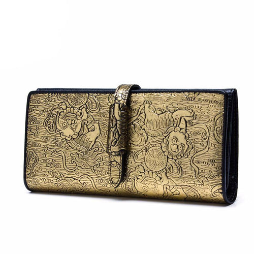 Chinese Style Gold Painted Embossed Split Leather Hasp Long Wallet