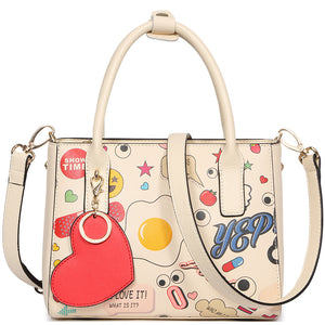 Split Leather Luxury Handbags Cartoon Style Women Shoulder Bags