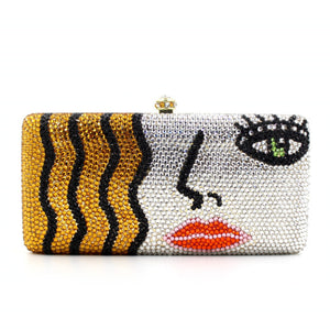 Charming Lady Face Gold And Silver Luxury Clutch