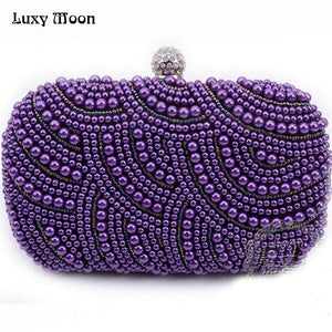 Elegant purple pearls evening bags pink white gold black beaded clutch bag wedding bridal party dinner