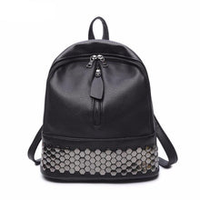 Bolish PU Synth Leather Small Fashion Backpack Preppy Style Black Mater Rivet